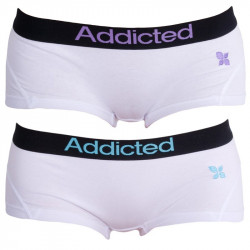 2PACK Dámské Kalhotky Addicted Bílo Modrá Bílo Fialová