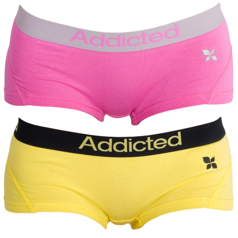 2PACK Dámské Kalhotky Addicted Růžová Žlutá