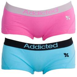 2PACK dámské kalhotky Addicted růžová modrá