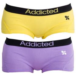 2PACK dámské kalhotky Addicted žlutá fialová