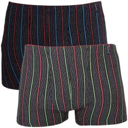 2PACK pánské boxerky Molvy černé s barevnými pruhy