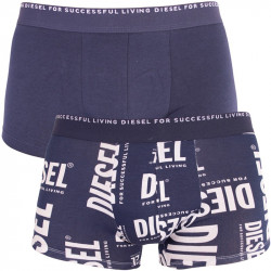 2PACK pánské boxerky Diesel dark blue white words