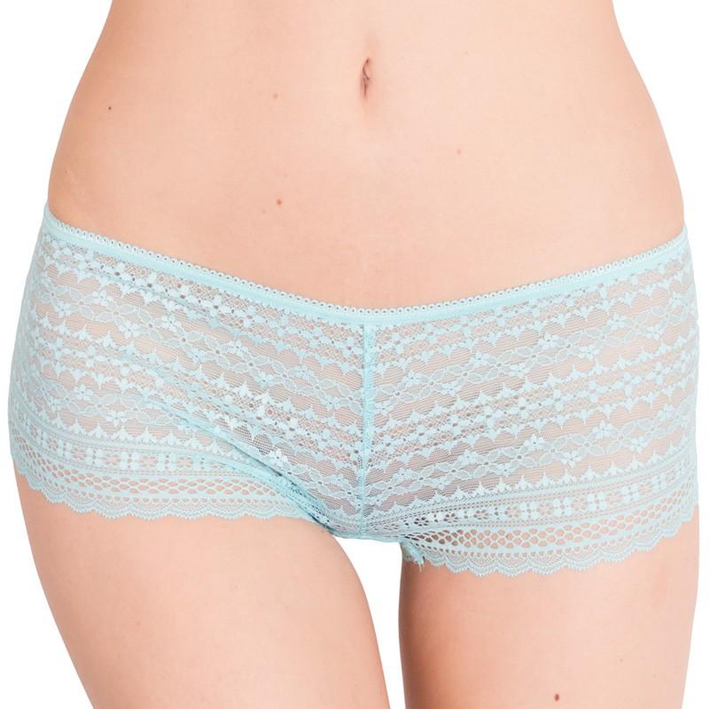 Dámské kalhotky Victoria's Secret shortie tyrkysové S