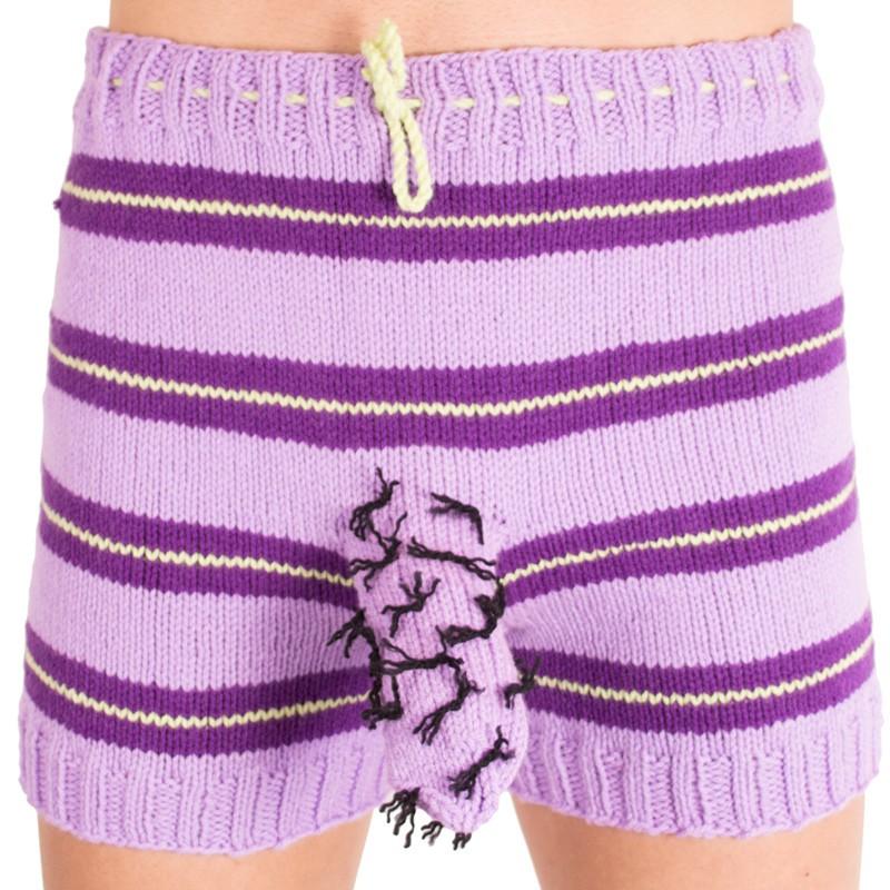 Ručně pletené trenýrky fialový chlup uni
