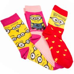 3PACK ponožky Disney Mimoni  žlutá srdíčka