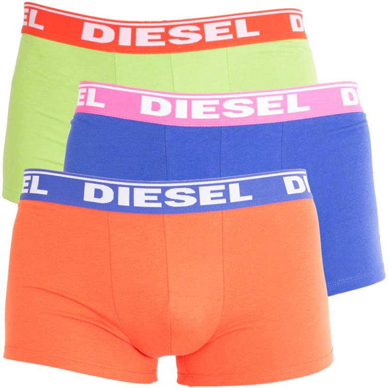 3PACK pánské boxerky Diesel Fresh&Bright fialovo oranžovo zelené M