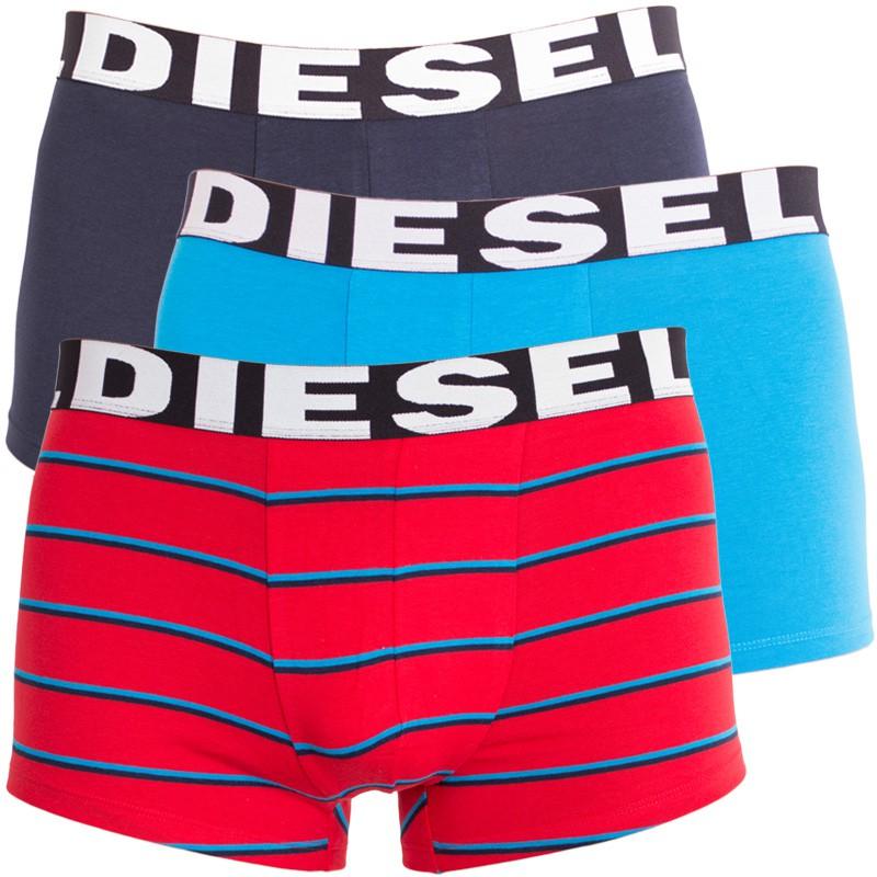 3PACK pánské boxerky Diesel červené pruhy M