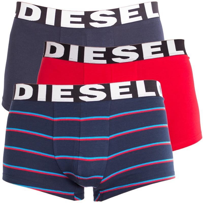3PACK pánské boxerky Diesel tmavě modré pruhy M