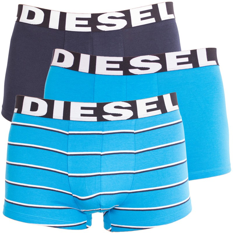3PACK pánské boxerky Diesel tyrkysové pruhy M