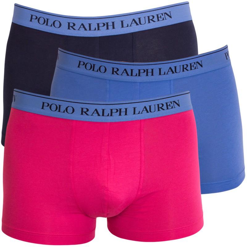 3PACK pánské boxerky Ralph Lauren modro růžové S