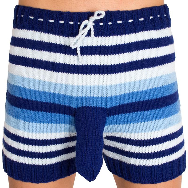 Ručně pletené trenýrky modré pruhy uni