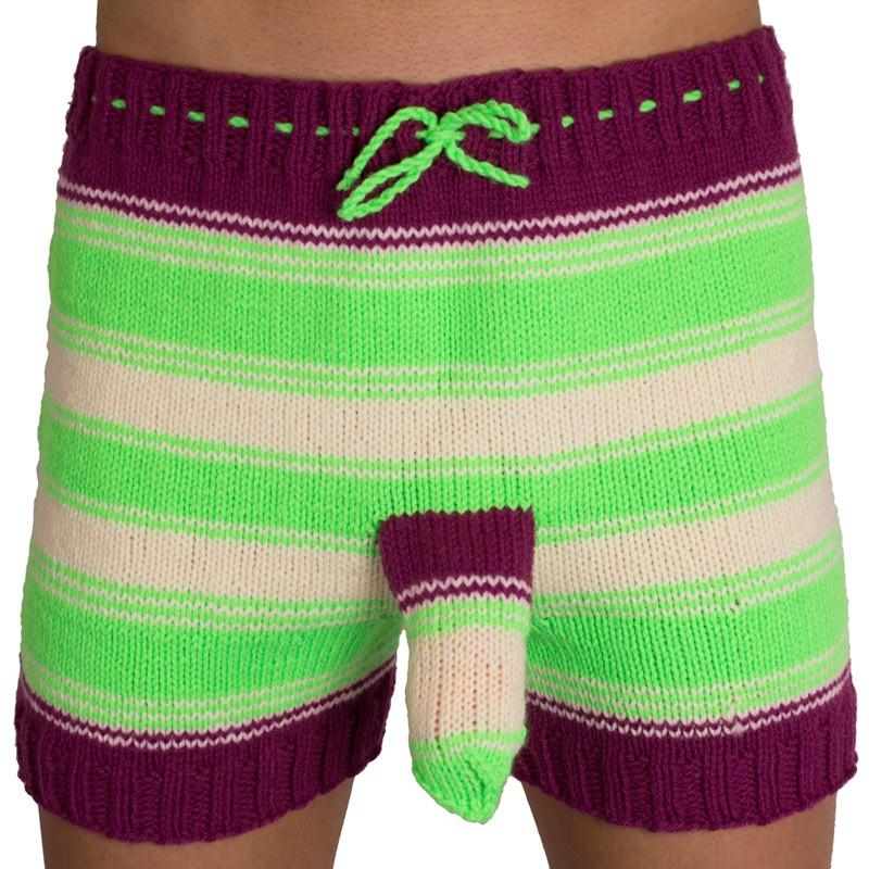 Ručně pletené trenýrky fialovo zelené pruhy uni