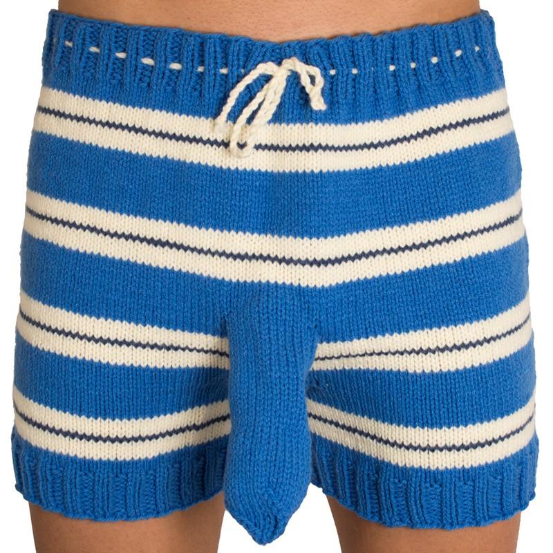 Ručně pletené trenýrky modrý pruh uni