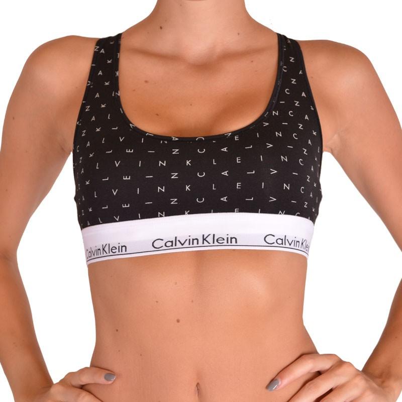 Dámská sportovní podprsenka Calvin Klein Modern Cotton černá s písmeny S