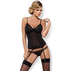Dámská souprava Obsessive Dotina Corset Black