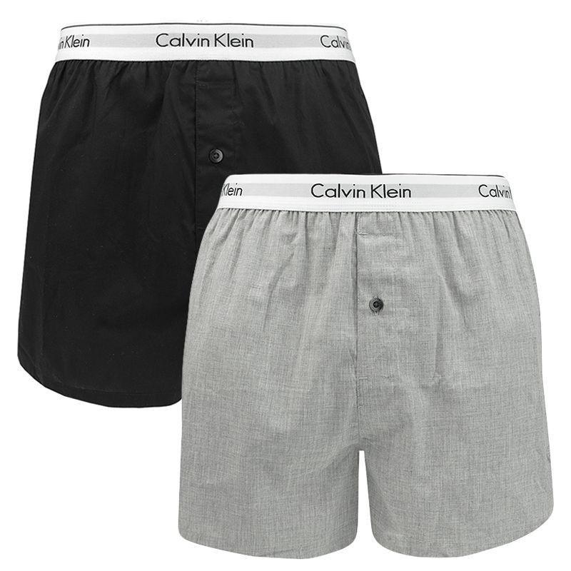 2PACK pánské trenýrky Calvin Klein slim fit černo šedé L