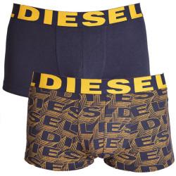 2PACK pánské boxerky Diesel tmavě modré se žlutým písmem