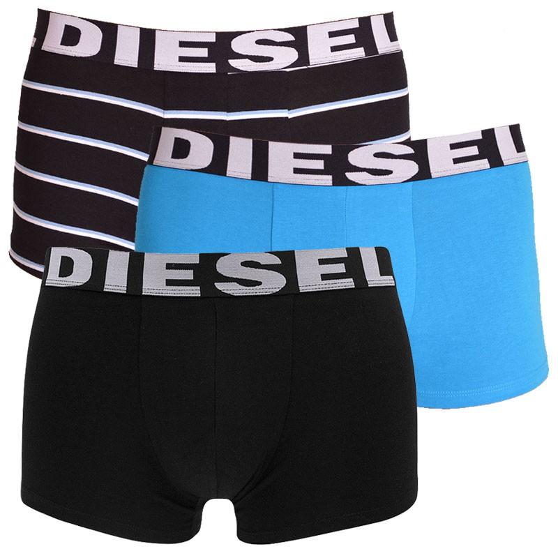3PACK pánské boxerky Diesel modré s pruhy M