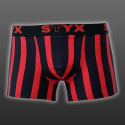 Pánské Boxerky Styx sport biggie černo červené proužky