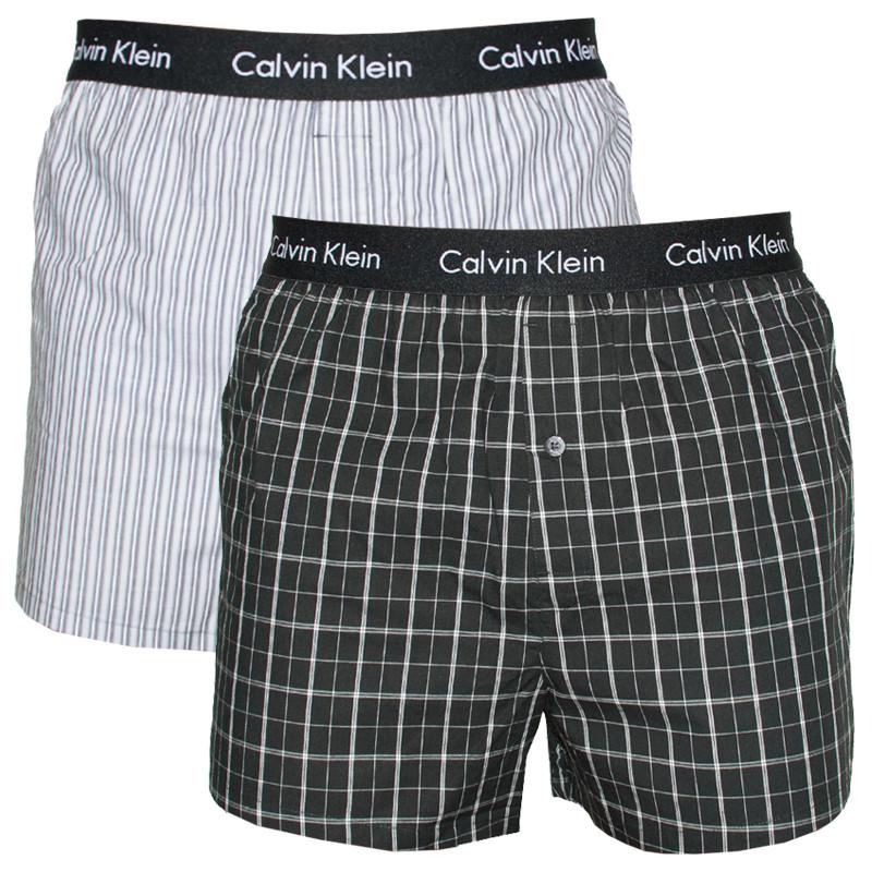 2PACK Pánské Trenýrky Calvin Klein Slim Fit Boxer černo šedé M
