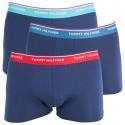 3PACK pánské boxerky Tommy Hilfiger trunk tmavě modré s barevnou gumou