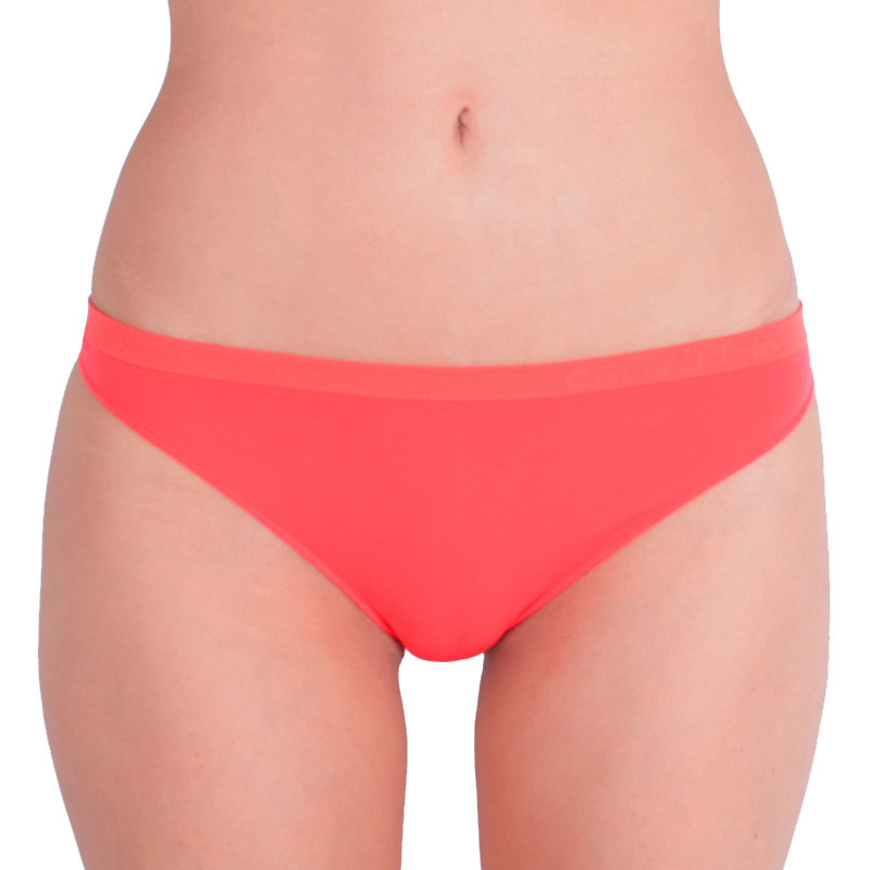 Dámská tanga Calvin Klein Seamless neonově oranžové XS