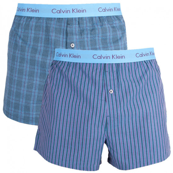 2PACK Pánské Trenýrky Calvin Klein Slim Fit Boxer barevné