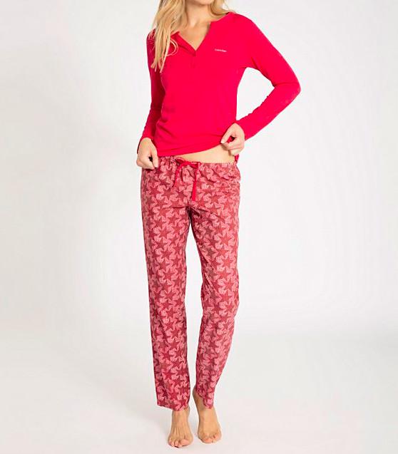 Dámské pyžamo Calvin Klein červené s hvězdičkami M
