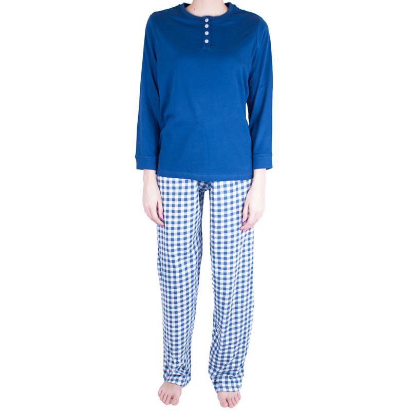 Dámské pyžamo Molvy modré s kostkami M