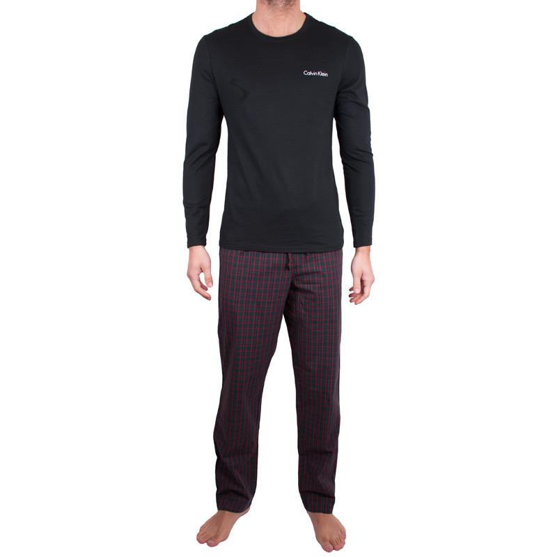 Pánské pyžamo Calvin Klein černo červené kostky L