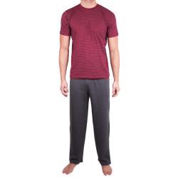Pánské dlouhé pyžamo Molvy šedo červené proužky (KT-019)