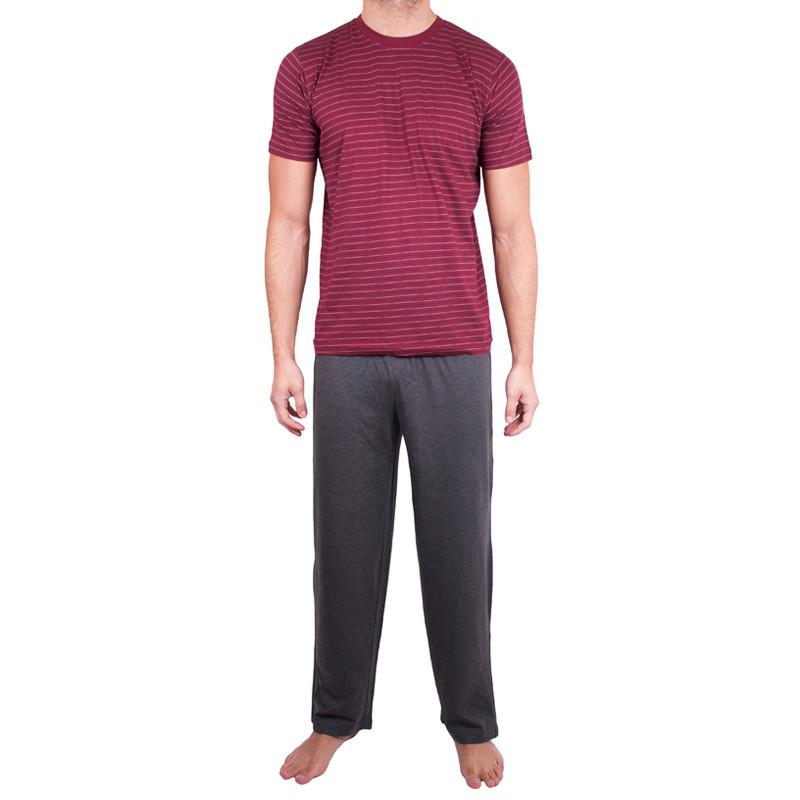 Pánské dlouhé pyžamo Molvy šedo červené proužky L