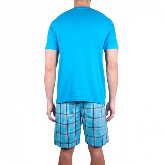 Pánské krátké pyžamo Molvy modré s kostkovanými kalhotami