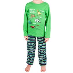 Chlapecké pyžamo Molvy zelené s pruhovanými kalhotami