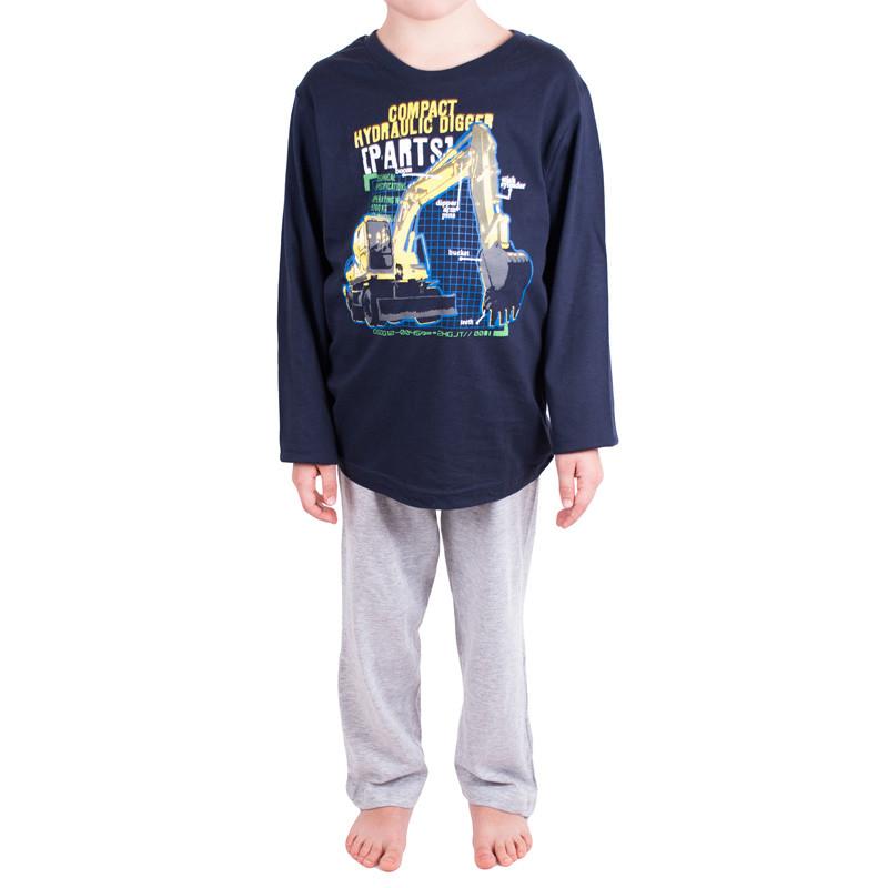 Chlapecké pyžamo Molvy modré s bagrem 116/122