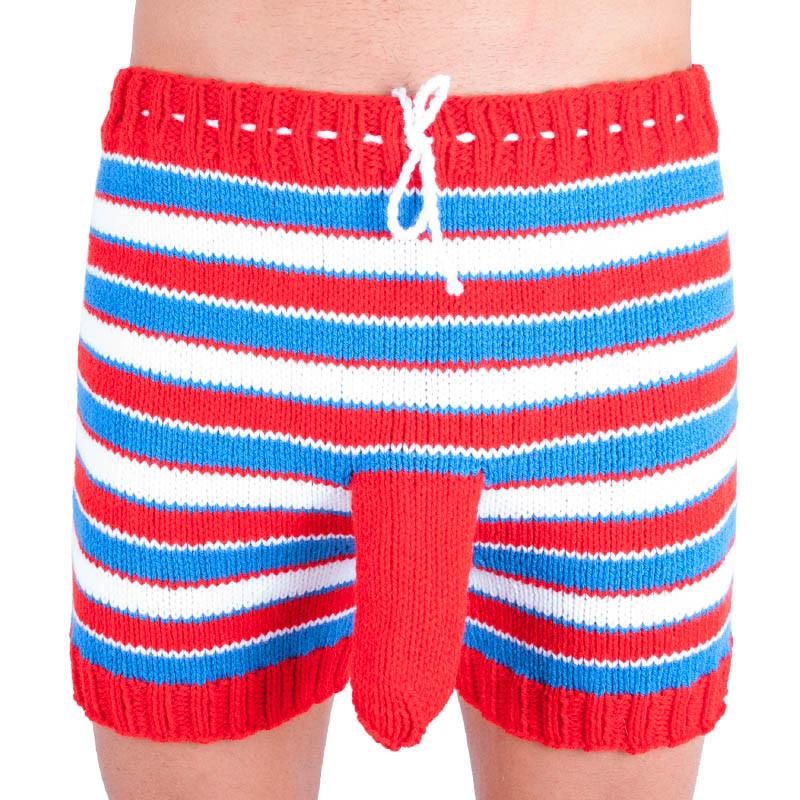 Ručně pletené trenky Infantia červeno modro bílé proužky uni