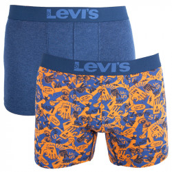 2PACK pánské boxerky Levis blue yellow emoji