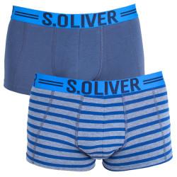 2PACK pánské boxerky S.Oliver grey & navy stripes