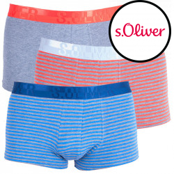 3PACK pánské boxerky S.Oliver grey & blue/orange stripes
