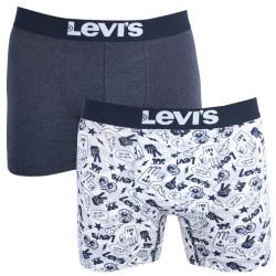 2PACK pánské boxerky Levis black white emoji