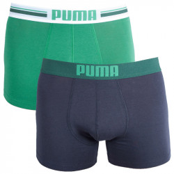 2PACK Pánské Boxerky Puma Placed Logo Green Long