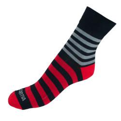 Ponožky Infantia Classicline černo červené pruhy