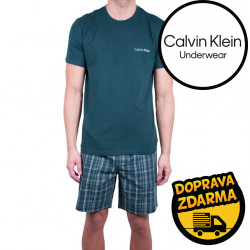 Pánské pyžamo Calvin Klein tmavě zelené (NM1533E-DGW)