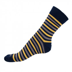 Ponožky Infantia classicline modro šedo žluté pruhy