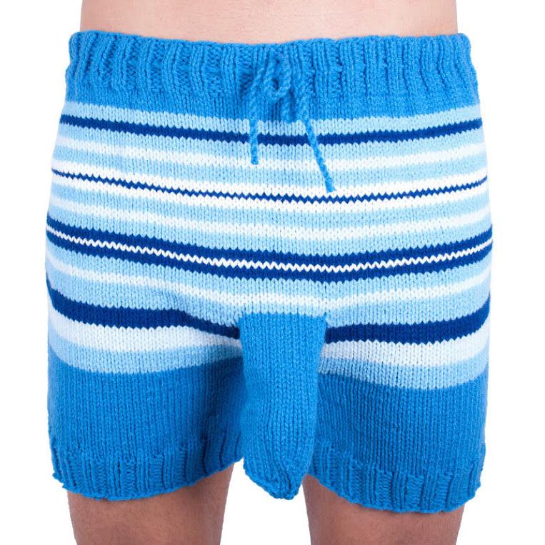 Ručně pletené trenýrky modro bílé pruhy uni