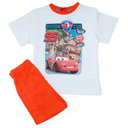 Chlapecké pyžamo Molvy Cars bílé s oranžovýma kraťasama