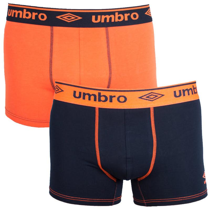 2PACK pánské boxerky Umbro long černo oranžové