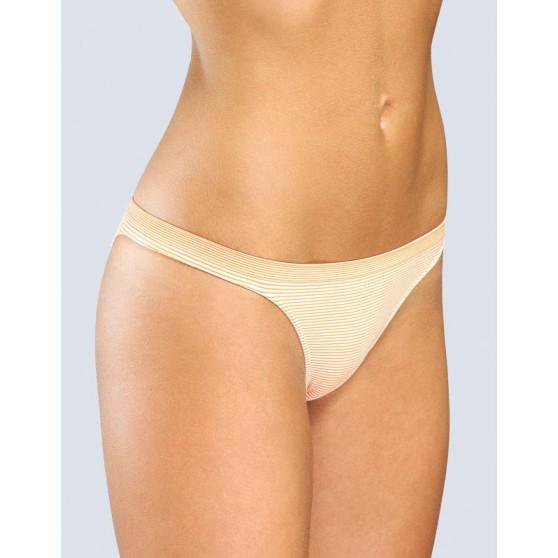 Dámské kalhotky Gina bezešvé brasil bílo oranžové proužky