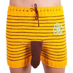 Ručně pletené trenky Infantia žluté proužky se čtyřlístkem
