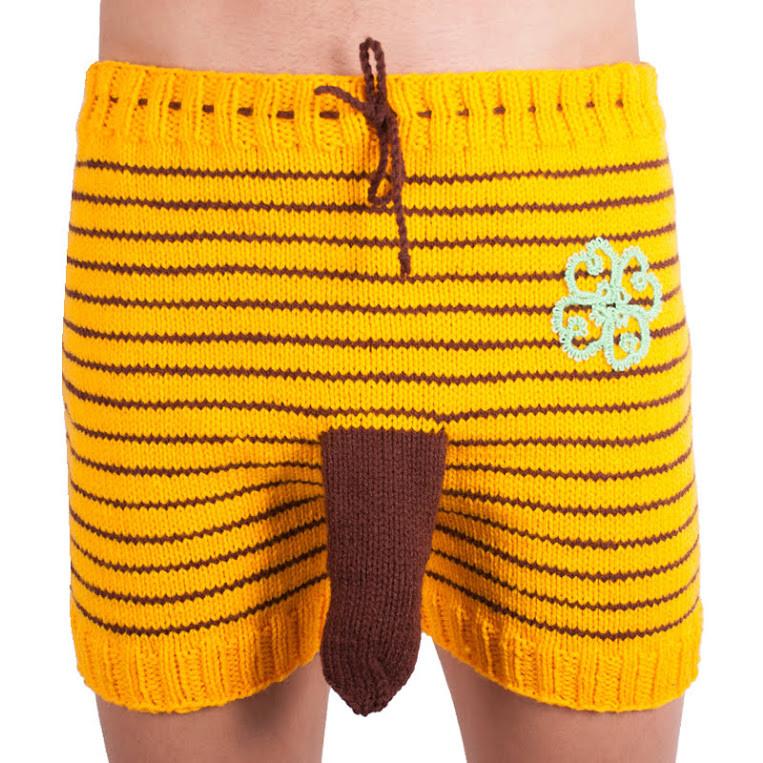 Ručně pletené trenky Infantia žluté proužky se čtyřlístkem uni